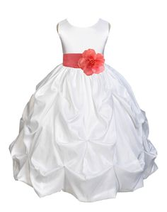 Wedding Pageant White Bubble Pick-up Kid Flower Girl Dress with Tiebow 301T 10