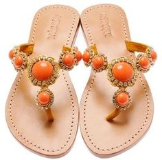 Gold Wedge Sandals: Mystique Gold & Coral Wedge Sandals Coral Wedges, Coral Sandals, Palm Beach Sandals, Flip Flop Sandals, Wedge Sandals, Coral Fashion, Tan Skin, Glamour, Orange