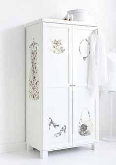 #diy wallpaper ideas We've seen the idea of papering a wardrobe. But I LOVE the idea of cutting out a silhouette of fashion accessories!