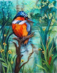 The Kingfisher original wool painting by door MagicWoolStudio