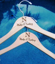 Personalized Bride and Groom Hangers Engraved by BlackLabelDecor
