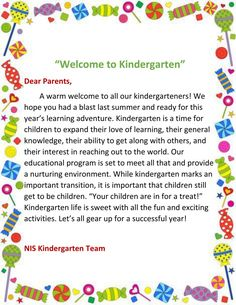 Image result for kindergarten welcome letter Kindergarten Welcome Letter, Kindergarten Newsletter, Kindergarten First Day, Teacher Introduction Letter, Letter To Teacher, Meet The Teacher, Parent Letters, Notes To Parents, Dear Parents
