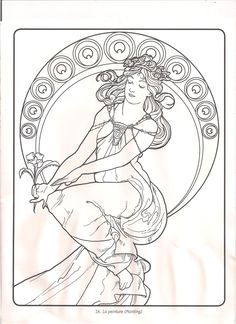 alphonse mucha coloring pages mucha lineart by cherubiumangles