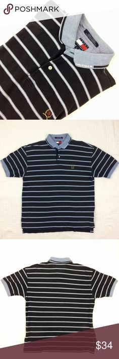 Tommy Hilfiger Navy Striped Polo Shirt This is a vintage Tommy Hilfiger mavy amd light blue striped polo shirt. It has a spellout Hilfiger on the lapel. Mens sz L Tommy Hilfiger Shirts Polos