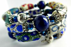 BLUE NILE African Bracelet - African beads from the  Krobo Tribe and Lapis Lazuli Gemstones