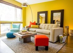 Yellow + Natural/Flax color combination in a living room