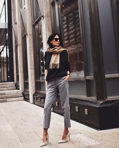 Monday full of meeting means comfy knit, cigarette pants and killer heels  // @wonhundred_official knit & scarf, @hm pants, @wantedshoes heels ☕️