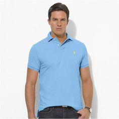 Ralph Lauren Light Blue Short Sleeved Mesh Men Polo http://www.ralph