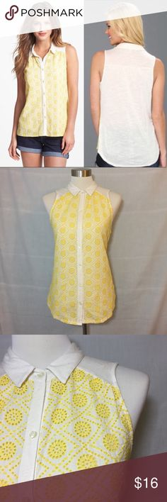 """Lucky Brand Vivianne Collared Eyelet Buttondown M Lucky Brand Yellow Vivianne Collared Eyelet Sleeveless Buttondown  • Sz M •  Rayon front, cotton woven back, polyester embroidery • Very good pre-loved condition, no imperfections • Measured flat • 18"""" bust  • 25"""" length Lucky Brand Tops"""