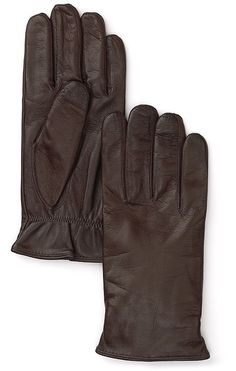 $106, Dark Brown Leather Gloves: Bloomingdale's The Store At Cashmere Lined Tech Leather Gloves. Sold by Bloomingdale's. Click for more info: https://lookastic.com/men/shop_items/4594/redirect