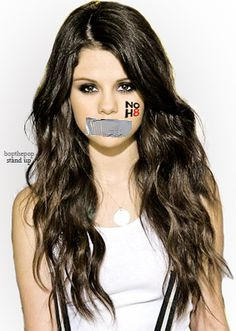 "Selena Gomez ""NOH8"" Silencing women to support gay marriage. This image is so contradictory."