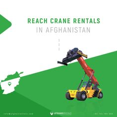 #Reach_Crane Rentals in Kabul, Afghanistan!  +93 744 180 000 / info@afghanrentals.com  #Reach_Crane_Rentals_in_Afghanistan #Kabul_Reach_Crane #Heavy_Equipment_Rental_in_Afghanistan #Heavy_Machinery_Rental_in_Afghanistan Heavy Equipment Rental, Heavy Construction Equipment, Mini Excavator, Skid Steer Loader, Heavy Machinery, Afghanistan, Crane, Tractors, Tractor