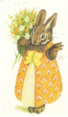 Vintage Easter card by Gordon Fraser -- illustration by Melanie Renn.  A dressed bunny rabbit carries a carrot bouquet.