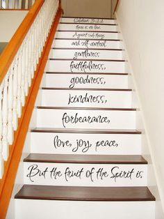 LOVE this! Galatians 5 22-23 - STAIR CASE - Art Wall Decals Wall Stickers Vinyl Decal Quote - But the fruit of the spirit is. $29.99, via Etsy.