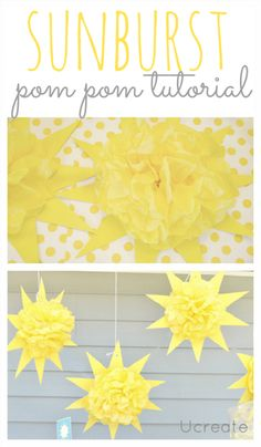 sunburst pom pom tutorial - fun for summer events and parties!