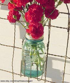 Flower Frog Upcycled QUART Mason Jar Wire Basket by treasureagain, $28.50