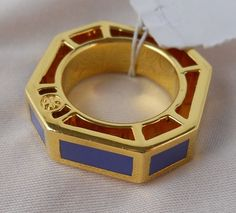Tory Burch Logo Rylan Octagon Blue Gold Plated Cocktail Ring Size 7  #ToryBurch #Cocktail