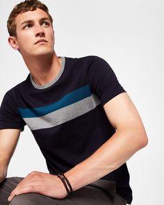 Colour-block cotton T-shirt - Navy   Tops & T-shirts   Ted Baker