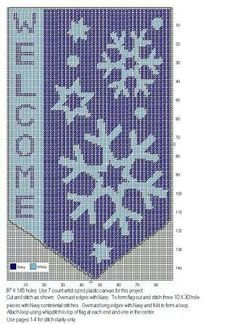 Snowflake Welcome Plastic Canvas Stitches, Plastic Canvas Tissue Boxes, Plastic Canvas Crafts, Plastic Canvas Patterns, Christmas Valances, Christmas Wall Hangings, Christmas Crafts To Make, Christmas Stuff, Xmas