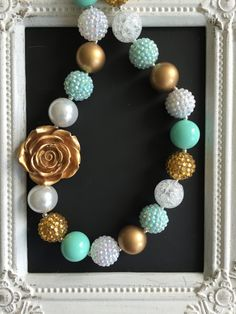 Mint, gold and white bubblegum necklace by LilchicboutiqueLIC on Etsy