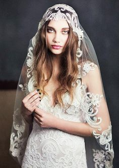 source : shop.clairepettibone.com  /products casablanca veil  _ robe de dentelle à voile/ swirls of ivory embroidery and beads, pearls and crystals dress fashion lace