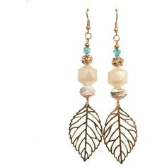 Beachy Dangling Leaf Earring ($25) ❤ liked on Polyvore featuring jewelry and earrings