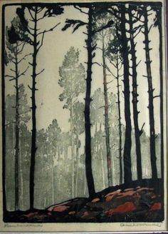 Dennebos, Arie Zonneveld. Just love the art noveau/printing feel of this one! I wonder how I can get this softness in my own watercolors.