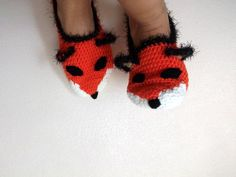 Fox Slippers-Foxy-Home Slippers-women, men, children, teens,renard,Winter Warm -Unisex Funny Chunky Crochet Fox-Fathers Day. $26,00, via Etsy.