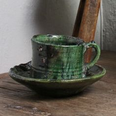 Tamegroute Teacup and Saucer Set – Green Saucer diameter: 16 cm Cup diameter: cm Cup height: Colour: emerald Material: Earthenware Handmade in Morocco Lush Green, Tea Cup Saucer, Earthenware, Teacup, Im Not Perfect, Artisan, Ceramics, Mugs, Tableware