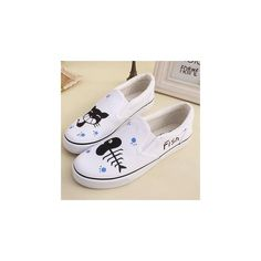 Painted Cat Canvas Slip-Ons ($36) ❤ liked on Polyvore featuring shoes, sneakers, footware, cat shoes, canvas footwear, hvbao, bleach shoes and white shoes
