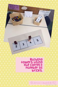 Make a tower using the correct number of cubes. EYFS