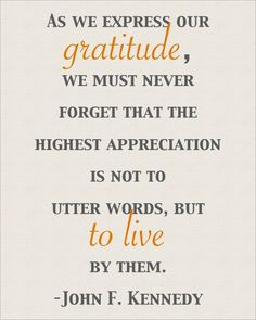 """Wise words❤️John F. Kennedy said, """"As we exress our gratitude, we must never forget that the higest apreciation is not to utter words, but to live by them. Words Of Gratitude, Attitude Of Gratitude, Practice Gratitude, Gratitude Quotes, Positive Quotes, Express Gratitude, Positive Thoughts, Uplifting Thoughts, Deep Thoughts"""