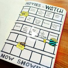 Books and movies printable for your planner or Bullet Journal. Books to read and movies to watch planner in 4 sizes- Hand Drawn Book Wishlist and Movie Planner by PawsAndPaper- Bullet Journal Books, Bullet Journal Ideas Pages, Bullet Journal Inspo, Journal Pages, Journal Fonts, Journal Quotes, Planner A5, Printable Planner, Happy Planner