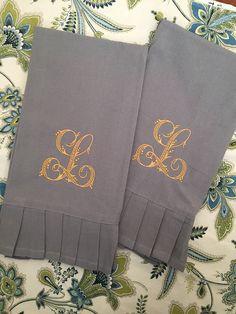 Monogrammed Linen Handtowel- Flourish Initial, Personalized Handtowel , Hostess Gift by SilverSpoolShop on Etsy