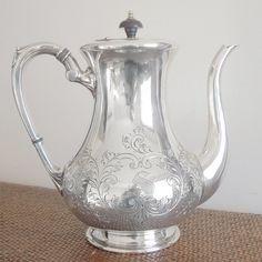 Vintage English Tea Pot   Antique English Silver Teapot - S Monogram