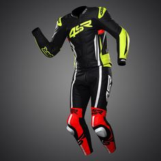 racing suit Evo III NEON by As a subtle touch the fluorescent colours are not only fashionable but will catch the eye of every other road user for added safety. Bike Suit, Motorcycle Suit, Motorcycle Leather, Racing Motorcycles, Biker Gloves, Biker Gear, Kevlar Jeans, Bike Leathers, Races Outfit
