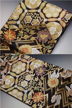 An obi with intricate overlapping designs in metallic thread - I want one like this to frame on my wall Japanese Textiles, Japanese Fabric, Japanese Kimono, Japanese Colors, Japanese Patterns, Japanese Clothing, Japanese Outfits, Traditional Kimono, Traditional Fashion