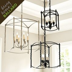 "Small: 12""H X 8"" Square  Large: 18 1/4""H X 12"" Square Extra Large: 24""H X 16"" Square $109 to $229 Carriage House Chandeliers"