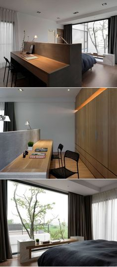 Bedroom Design Idea – A Desk Built Into The Back Of The Headboard | CONTEMPORIST