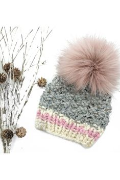 Our Pretty in Pink Beanie is a beautiful textured hat with a lovely pink stripe and tweed colourway. Sizes Newborn-Toddler. FREE SHIPPING Continental US & Canada. How To Wash Hats, Pink Beanies, Pink Socks, Pink Themes, Faux Fur Pom Pom, Pink Stripes, Pretty In Pink, Knits, Tweed