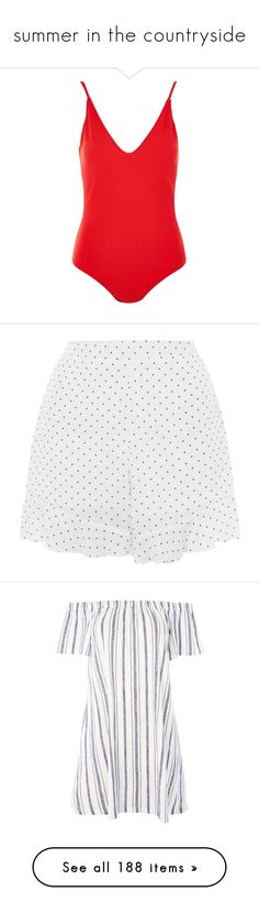 """""""summer in the countryside"""" by lydia-rc ❤ liked on Polyvore featuring intimates, shapewear, bodysuit, red, shorts, white, high waisted stretch shorts, stretch waist shorts, white shorts and highwaist shorts"""