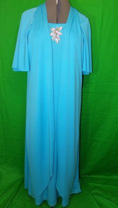 Vintage Turquoise Evening Gown With Silver Sequin Size 36 #EveningGown #Formal