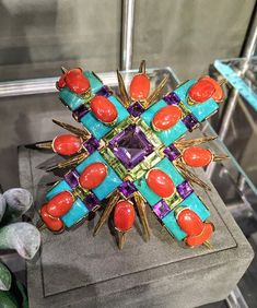 Hutton Wilkinson for Tony Duquette coral, turquoise and amethyst brooch