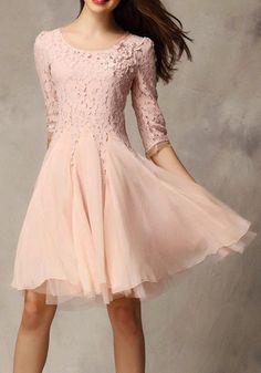 Pretty Pink Plain Seven's Sleeve Ankle Wrap Lace Dress