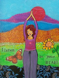 Let this be your homework today: Listen to your heart. :: Print by Lori Portka Graphics Fairy, Norman Rockwell, Vincent Van Gogh, Image Yoga, Frases Yoga, Prayer Flags, Art Journal Inspiration, Doodle Inspiration, Journal Ideas