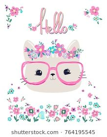 Hand Drawn Cat in glasses and wreath flowers. Cartoon Sketches, Stencil Templates, Dyi Crafts, Cat Birthday, Bedroom Art, Baby Prints, Screen Printing, Hello Kitty, Print Design