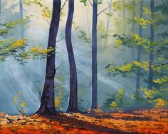 Forest Sunlight Painting by artsaus.deviantart.com on @deviantART - (the author has timelapse clips of him painting)