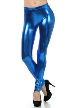 f84f0d9cc9 Leggings Metallic Leggings Shiny Leggings Dance Leggings Royal Blue Sz Med  #fashion #clothing #