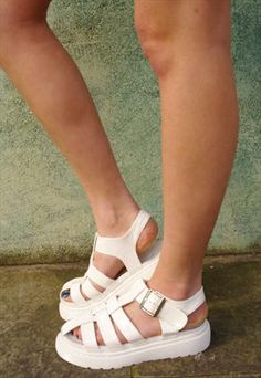 White Patent Chunky Cut Out Sandals £35.00