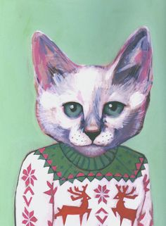 Hipster Cats Portrais - Cats in Clothes by Heather Mattoon / Alex is a bit of an awkward teenager. He wears this christmas sweater all year long and is desperately trying to start a band.
